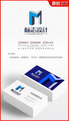 立体M字母logo设计标志商标设计
