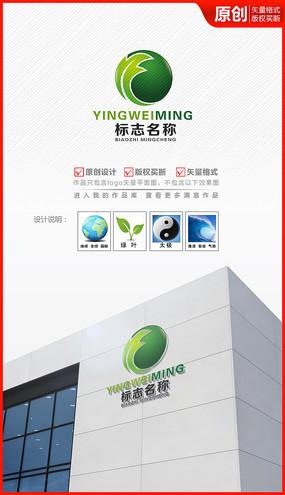 绿叶地球logo设计商标标志设计