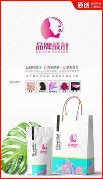美人颔首logo设计化妆品商标设计