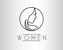 女性护肤品化妆品人像线条logo商标