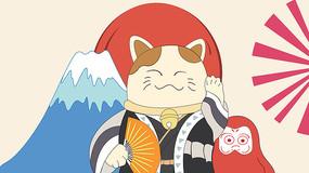 日式风格手绘卡通猫插画