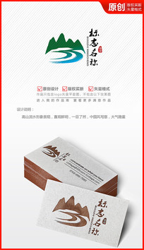 山川河流山水logo设计商标标志设计