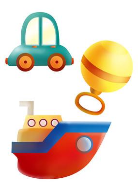 原创元素六一儿童节汽车摇铃船