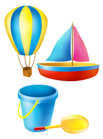 原创元素六一儿童节热气球船桶铲子