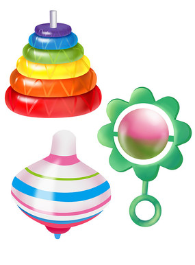 原创元素六一儿童节识色玩具铃陀螺