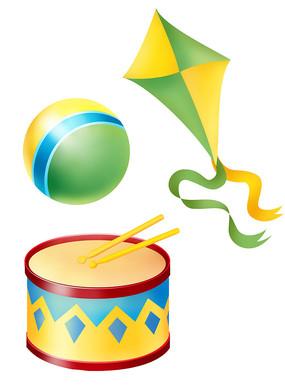 原创元素六一儿童节玩具风筝军鼓球