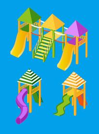 原创元素六一儿童节玩具滑梯