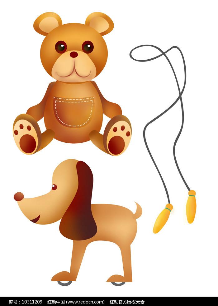 原创元素六一儿童节玩具熊狗跳绳图片