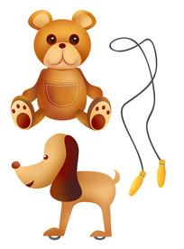 原创元素六一儿童节玩具熊狗跳绳