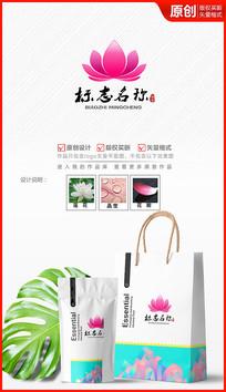 绽放莲花logo设计标志商标设计