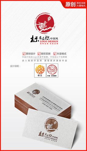 中国风龙头印章logo设计商标标志