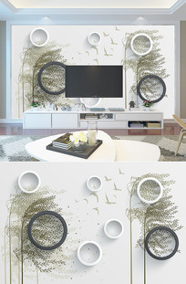 3D风树沙发背景墙装饰画