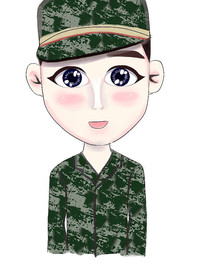 Q版军人头像插画设计