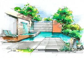 别墅房间泳池手绘