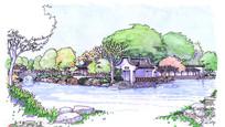 茶亭公园景观手绘
