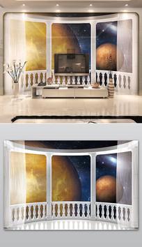 创意3D阳台宇宙星球电视背景墙