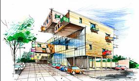 创意集装箱建筑手绘