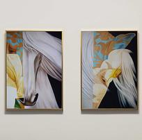 纯手绘花纹马装饰组合油画