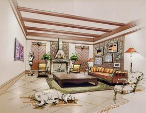 古典客厅手绘