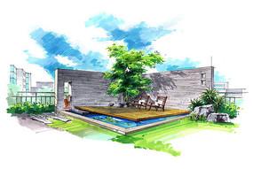 建筑楼顶花园手绘