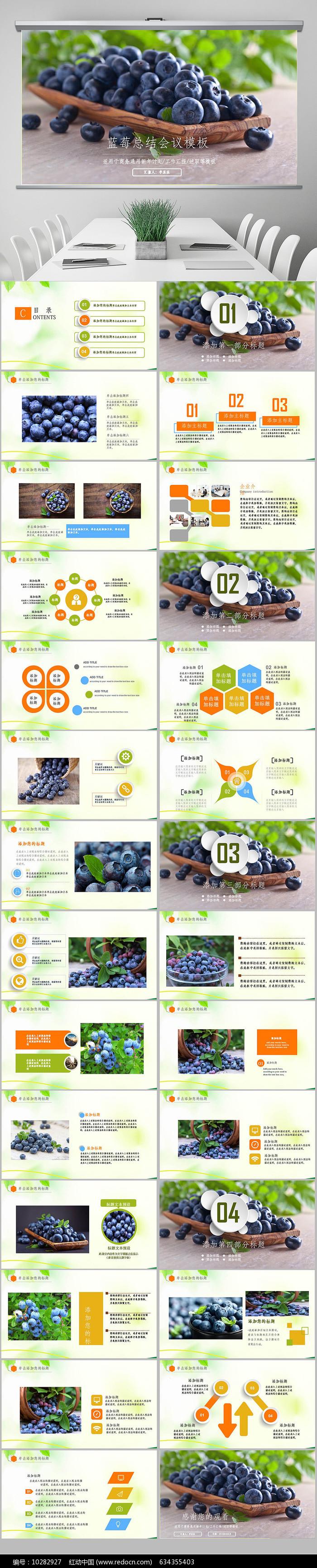 精美蓝莓种植销售动态ppt模板