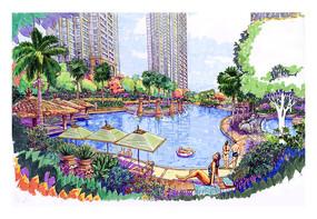 酒店别墅泳池景观手绘