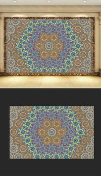六边形欧式花纹边框拼装客厅背景墙纸