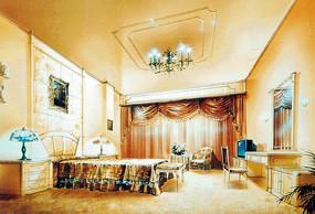 欧式奢华室内卧室手绘