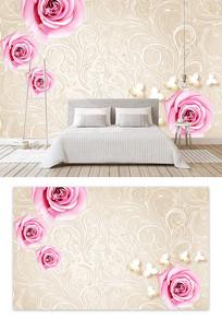 皮质玫瑰花欧式花纹背景墙