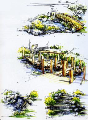 桥梁台阶彩色手绘