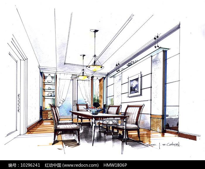 室内餐厅手绘 图片