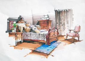 室内公主卧室手绘