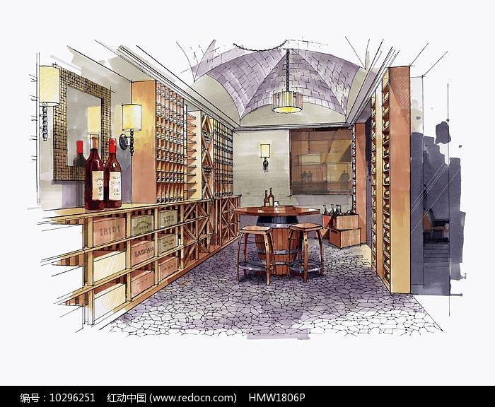 室内酒窖手绘图片
