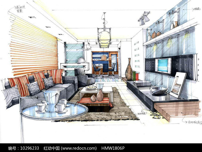 室内客厅手绘图片