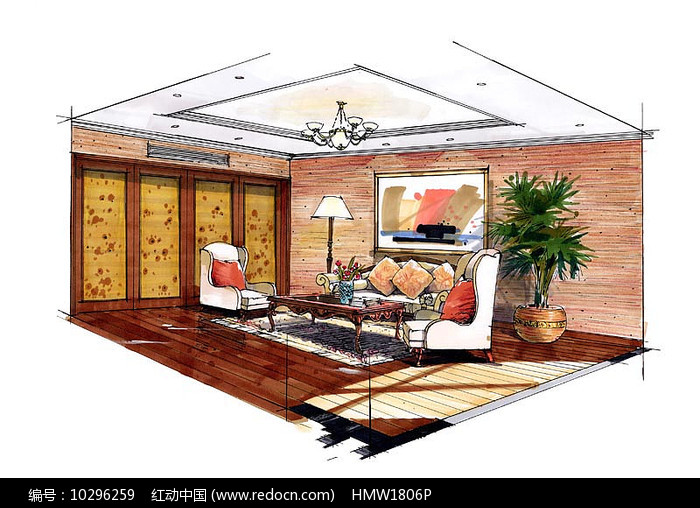 室内卧室彩色手绘图片