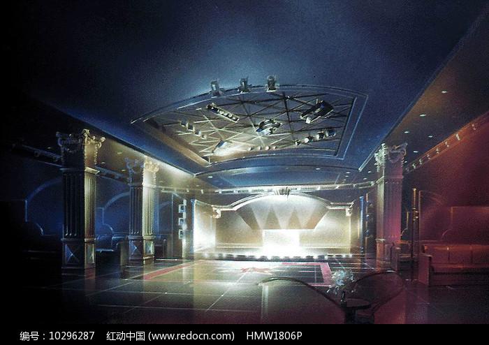 室内舞台彩色手绘图片
