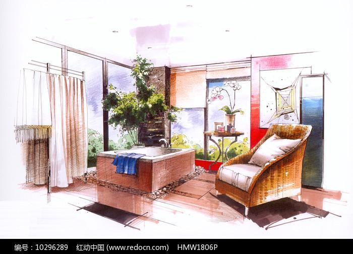 室内浴室手绘图片