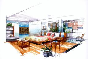 室内中式卧室手绘