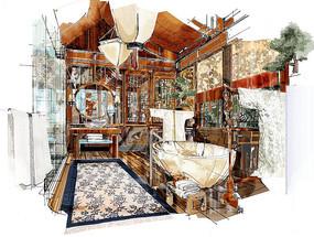室内中式浴室手绘