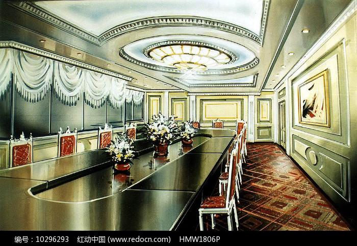 椭圆会议室手绘图片
