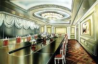 椭圆会议室手绘