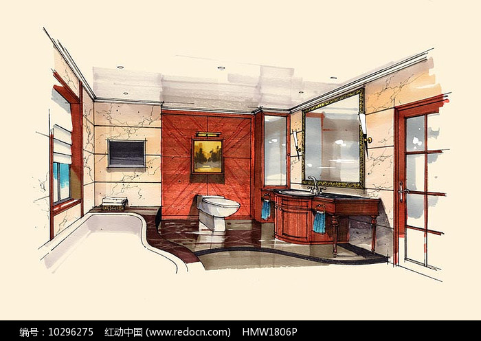 卧室卫生间手绘图片