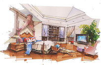 现代儿童卧室手绘