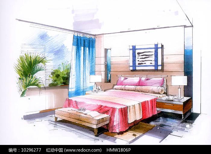 现代简约室内卧室手绘图片
