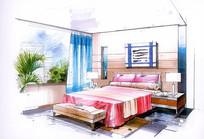 现代简约室内卧室手绘
