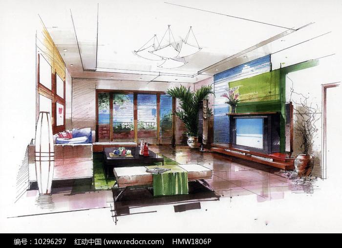 现代客厅手绘图片