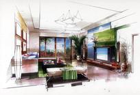 现代客厅手绘