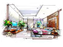 现代室内卧室手绘