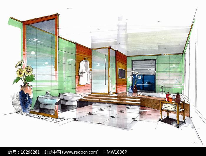现代浴室手绘图片