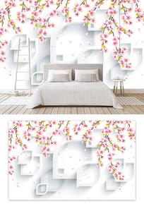小清新桃花花瓣几何背景墙